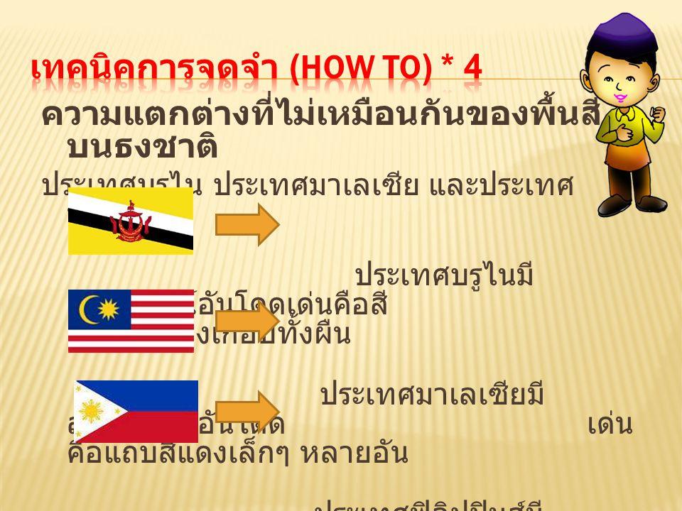 ความแตกต่างที่ไม่เหมือนกันของพื้นสี บนธงชาติ ประเทศบรูไน ประเทศมาเลเซีย และประเทศ ฟิลิปปินส์ ประเทศบรูไนมี สัญลักษณ์อันโดดเด่นคือสี สีเหลืองเกือบทั้งผ
