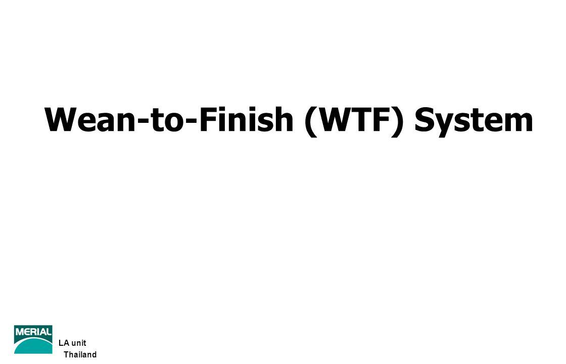 ปัจจัยที่มีส่วนร่วมกับ WTF เพื่อให้ได้ประสิทธิผลสูงสุด ปัจจัยที่มีส่วนร่วมกับ WTFรายละเอียด 6.อุปกรณ์- กล่องกก, ไฟกก/แก๊ส, วัสดุปูรอง, ผ้าม่าน/ผ้าใบ, อุปกรณ์ให้น้ำ/อาหาร 7.คุณภาพและปริมาณน้ำ- คุณภาพของน้ำ, ปริมาณน้ำที่หมูได้รับ 8.สภาพแวดล้อม - อุณหภูมิ ความชื้น และการระบายอากาศ 9.การไหลของหมู- การเข้าออกเป็นชุด หรือเป็นกลุ่ม (all in-all out) 10.วัคซีนและยา - มีโปรแกรมการฉีดวัคซีนและใช้ยาที่เหมาะสม 11.การป้องกันและควบคุมโรค- สุขอนามัย - สุขาภิบาล (การทำความสะอาด การฆ่าเชื้อ และการพักเล้า) LA unit Thailand