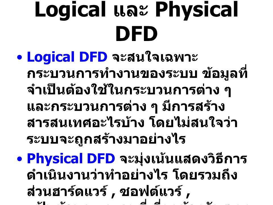 Logical และ Physical DFD Logical DFD จะสนใจเฉพาะ กระบวนการทำงานของระบบ ข้อมูลที่ จำเป็นต้องใช้ในกระบวนการต่าง ๆ และกระบวนการต่าง ๆ มีการสร้าง สารสนเทศ