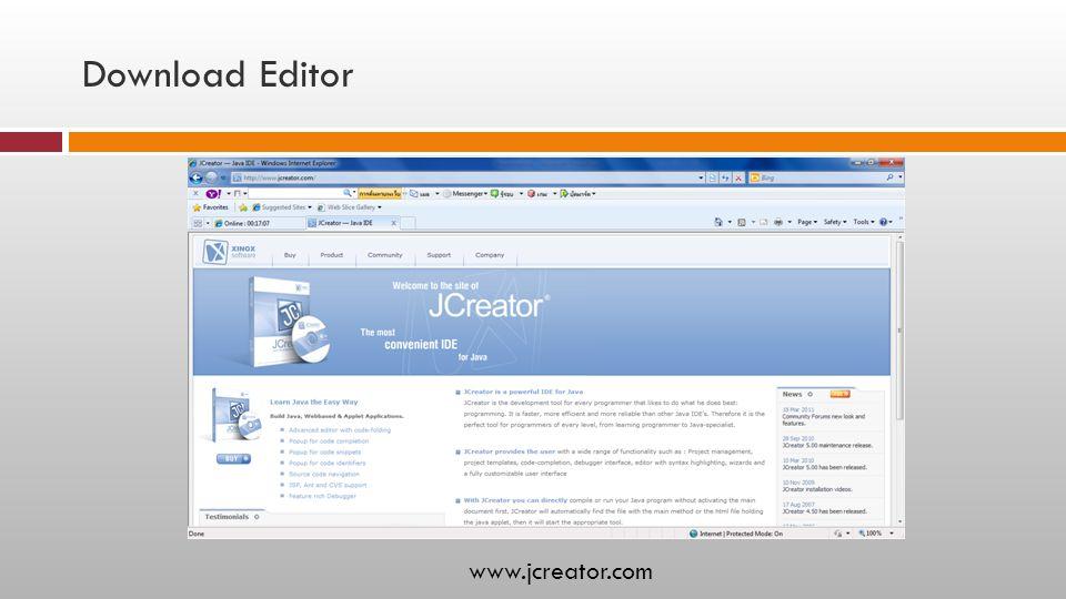 Download Editor www.jcreator.com