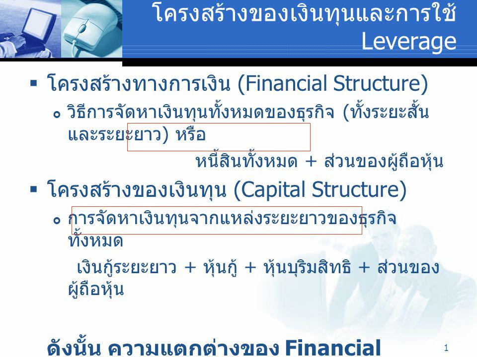 2 โครงสร้างของเงินทุนและการใช้ Leverage  ทฤษฎีของ Financial Leverage – ค่า FL ยิ่งสูงเท่าใด ผลตอบแทน ROI เพิ่มสูงขึ้น ( ยกตัวอย่าง )  ระดับความเสี่ยงทางการเงิน (Degree of Financial Leverage = DFL) - พิจารณาจากอัตราร้อยละของการ เปลี่ยนแปลงของกำไรต่อหุ้น (EPS) ที่เกิดจากอัตรา ร้อยละของการเปลี่ยนแปลงในกำไรจากการดำเนินงาน เมื่อ EPS = อัตราการเปลี่ยนแปลงของกำไรต่อหุ้น EBIT = กำไรก่อนหักดอกเบี้ยและภาษี