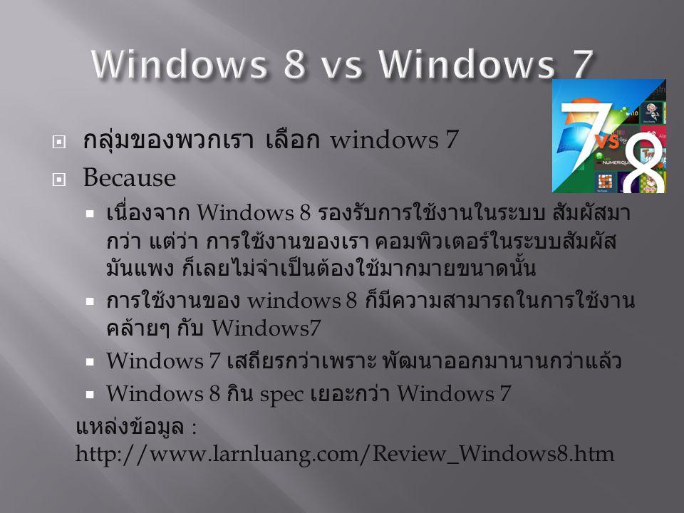  กลุ่มของพวกเรา เลือก windows 7  Because  เนื่องจาก Windows 8 รองรับการใช้งานในระบบ สัมผัสมา กว่า แต่ว่า การใช้งานของเรา คอมพิวเตอร์ในระบบสัมผัส มันแพง ก็เลยไม่จำเป็นต้องใช้มากมายขนาดนั้น  การใช้งานของ windows 8 ก็มีความสามารถในการใช้งาน คล้ายๆ กับ Windows7  Windows 7 เสถียรกว่าเพราะ พัฒนาออกมานานกว่าแล้ว  Windows 8 กิน spec เยอะกว่า Windows 7 แหล่งข้อมูล : http://www.larnluang.com/Review_Windows8.htm