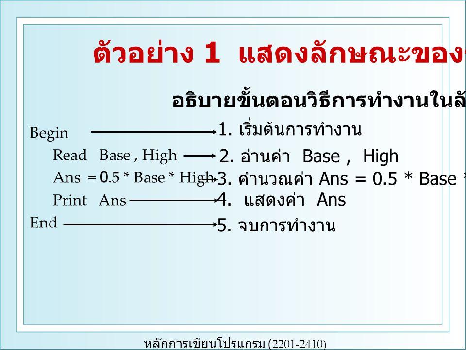 หลักการเขียนโปรแกรม (2201-2410) Begin Read Base, High Ans = 0.5 * Base * High Print Ans End 1.