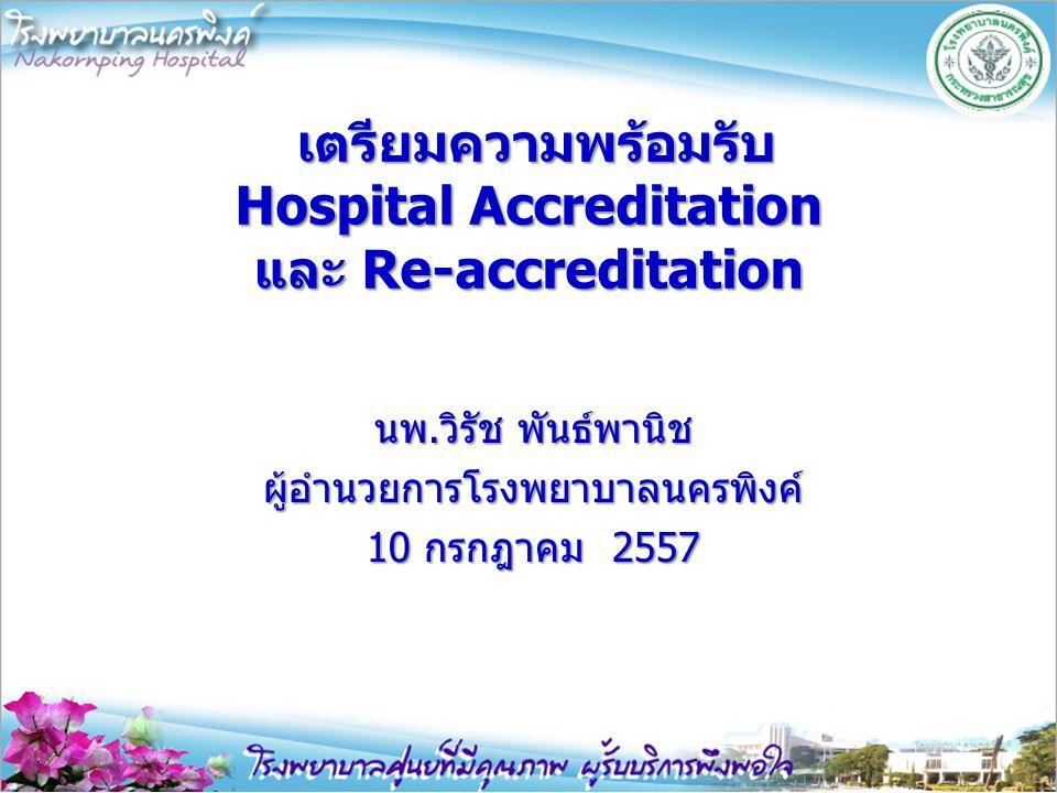 เตรียมความพร้อมรับ Hospital Accreditation และ Re-accreditation เตรียมความพร้อมรับ Hospital Accreditation และ Re-accreditation นพ.วิรัช พันธ์พานิช ผู้อำนวยการโรงพยาบาลนครพิงค์ 10 กรกฎาคม 2557