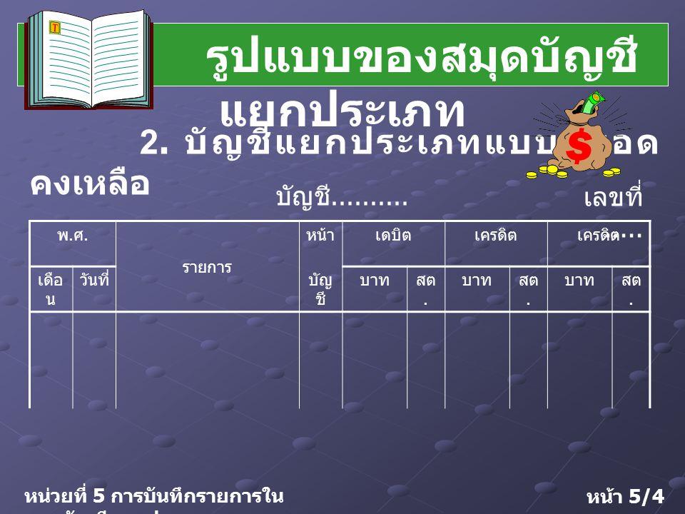 การกำหนดเลขที่บัญชี การกำหนดเลขที่บัญชี (Chart of Account) หมายถึง การกำหนดชื่อบัญชีและ ให้เลขที่บัญชีเป็นหมวดหมู่ บัญชีแยกประเภทแบ่งออกเป็น 5 หมวด 1.