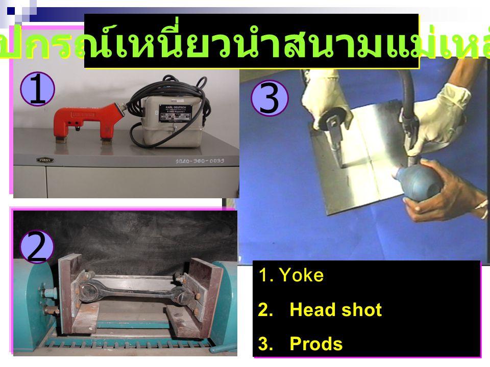 3 2 1. Yoke 2. Head shot 3. Prods 1. Yoke 2. Head shot 3. Prods 1 อุปกรณ์เหนี่ยวนำสนามแม่เหล็ก