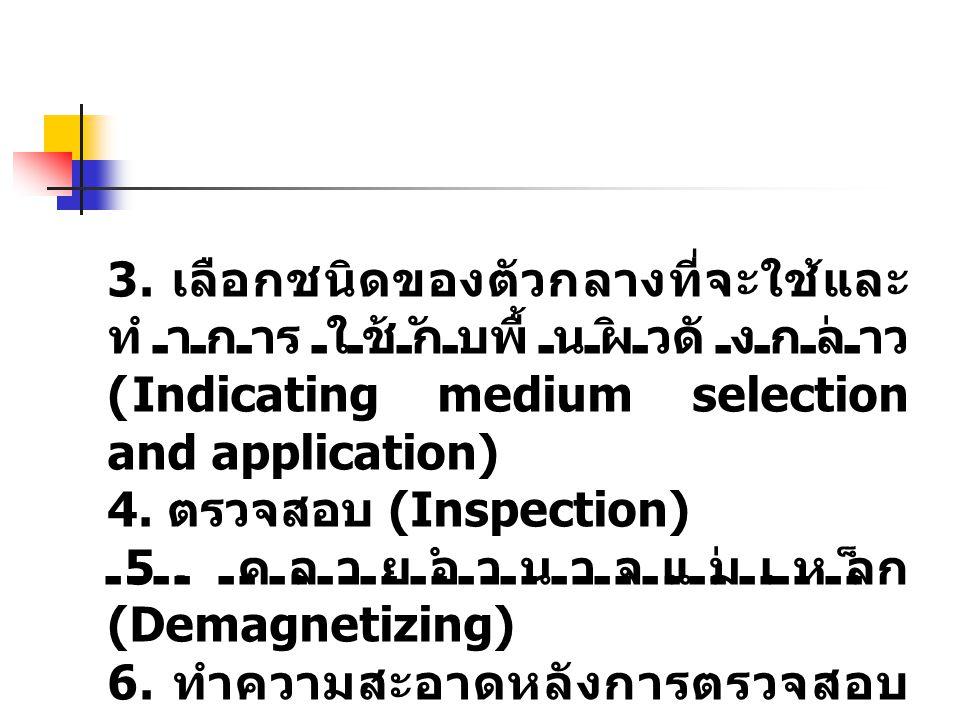 3. เลือกชนิดของตัวกลางที่จะใช้และ ทำการใช้กับพื้นผิวดังกล่าว (Indicating medium selection and application) 4. ตรวจสอบ (Inspection) 5. คลายอำนาจแม่เหล็