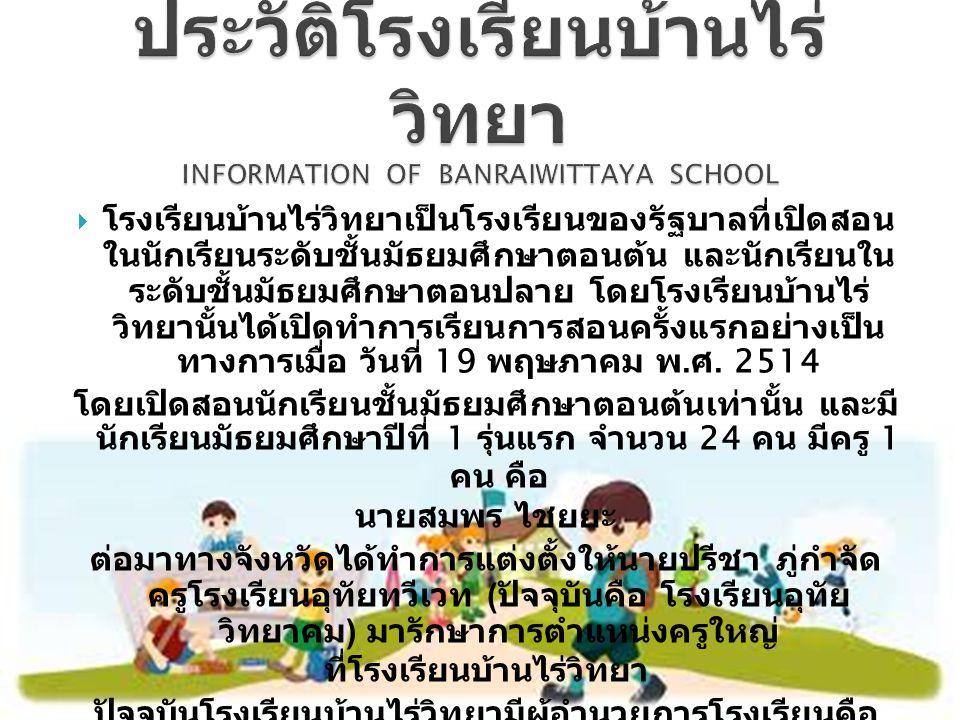  โรงเรียนบ้านไร่วิทยาเป็นโรงเรียนของรัฐบาลที่เปิดสอน ในนักเรียนระดับชั้นมัธยมศึกษาตอนต้น และนักเรียนใน ระดับชั้นมัธยมศึกษาตอนปลาย โดยโรงเรียนบ้านไร่ วิทยานั้นได้เปิดทำการเรียนการสอนครั้งแรกอย่างเป็น ทางการเมื่อ วันที่ 19 พฤษภาคม พ.