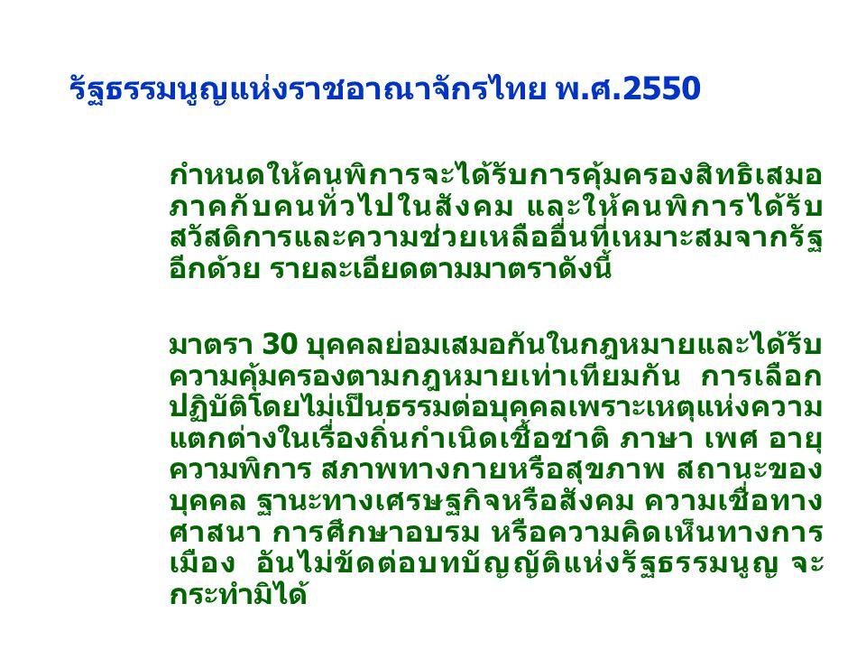 รัฐธรรมนูญแห่งราชอาณาจักรไทย พ.ศ.2550 กำหนดให้คนพิการจะได้รับการคุ้มครองสิทธิเสมอ ภาคกับคนทั่วไปในสังคม และให้คนพิการได้รับ สวัสดิการและความช่วยเหลืออื่นที่เหมาะสมจากรัฐ อีกด้วย รายละเอียดตามมาตราดังนี้ มาตรา 30 บุคคลย่อมเสมอกันในกฎหมายและได้รับ ความคุ้มครองตามกฎหมายเท่าเทียมกัน การเลือก ปฏิบัติโดยไม่เป็นธรรมต่อบุคคลเพราะเหตุแห่งความ แตกต่างในเรื่องถิ่นกำเนิดเชื้อชาติ ภาษา เพศ อายุ ความพิการ สภาพทางกายหรือสุขภาพ สถานะของ บุคคล ฐานะทางเศรษฐกิจหรือสังคม ความเชื่อทาง ศาสนา การศึกษาอบรม หรือความคิดเห็นทางการ เมือง อันไม่ขัดต่อบทบัญญัติแห่งรัฐธรรมนูญ จะ กระทำมิได้