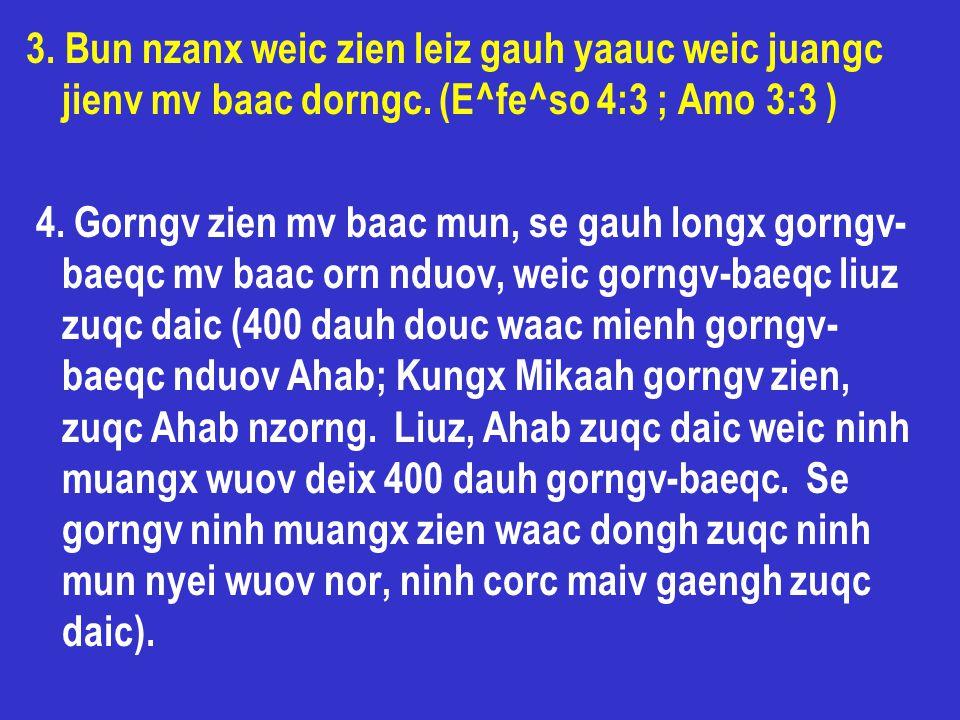 3. Bun nzanx weic zien leiz gauh yaauc weic juangc jienv mv baac dorngc. (E^fe^so 4:3 ; Amo 3:3 ) 4. Gorngv zien mv baac mun, se gauh longx gorngv- ba