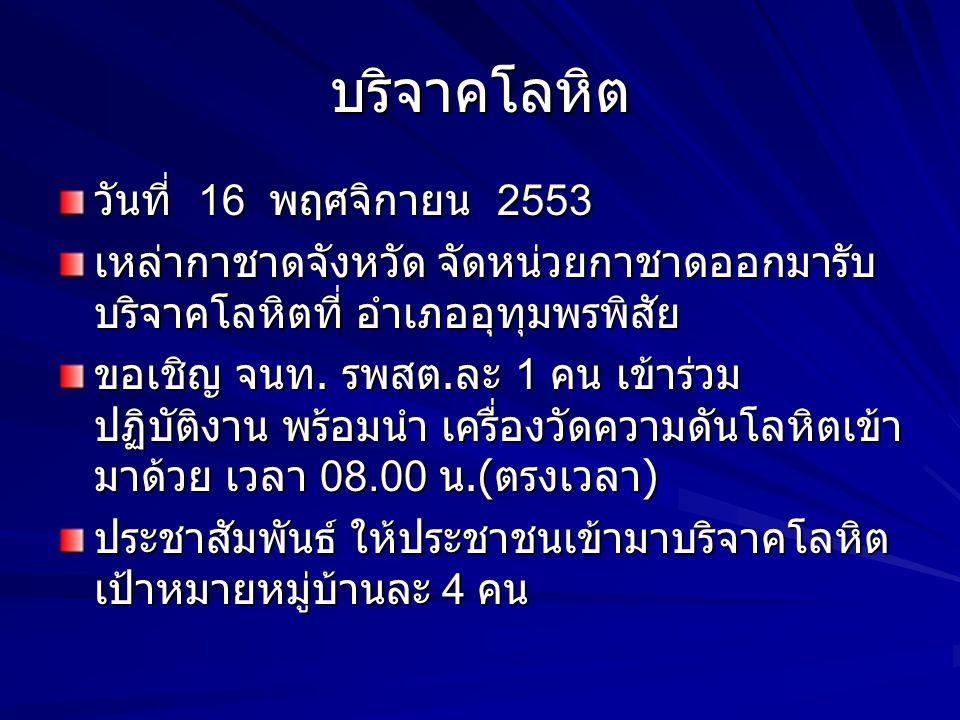 บริจาคโลหิต วันที่ 16 พฤศจิกายน 2553 เหล่ากาชาดจังหวัด จัดหน่วยกาชาดออกมารับ บริจาคโลหิตที่ อำเภออุทุมพรพิสัย ขอเชิญ จนท. รพสต. ละ 1 คน เข้าร่วม ปฏิบั