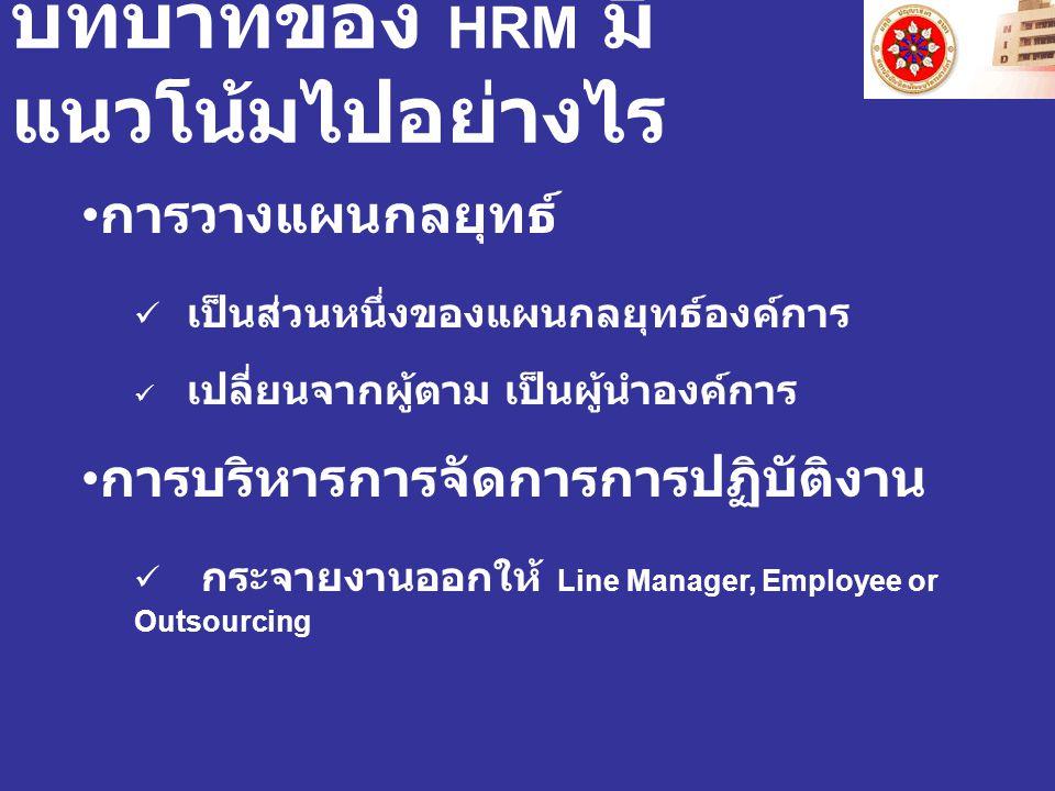 บทบาทของ HRM มี แนวโน้มไปอย่างไร การวางแผนกลยุทธ์ เป็นส่วนหนึ่งของแผนกลยุทธ์องค์การ เปลี่ยนจากผู้ตาม เป็นผู้นำองค์การ การบริหารการจัดการการปฏิบัติงาน