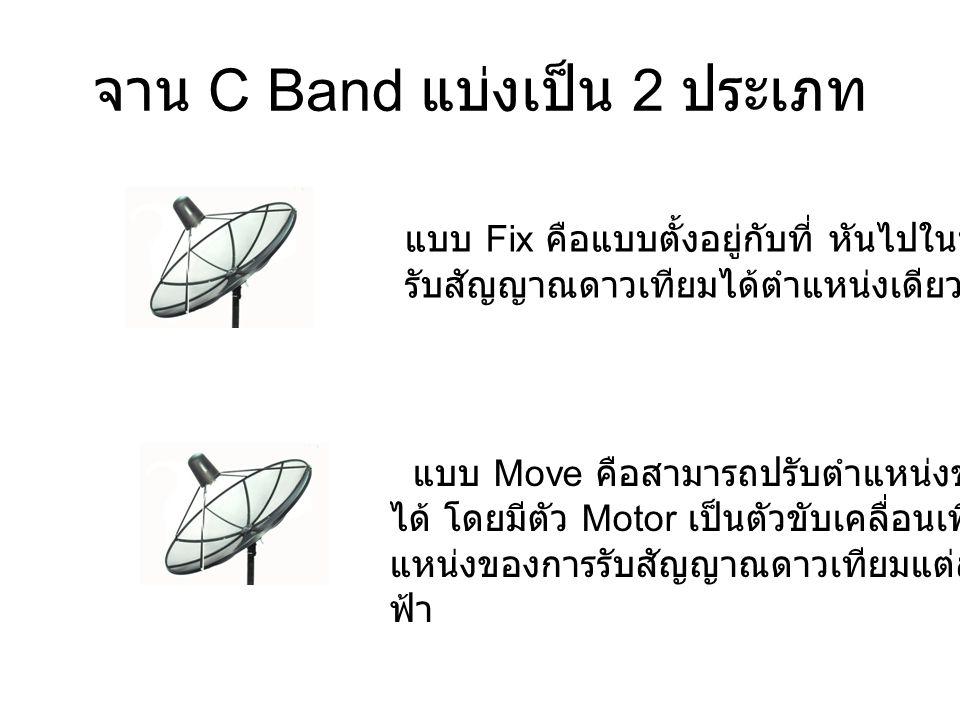 จาน C Band แบ่งเป็น 2 ประเภท แบบ Fix คือแบบตั้งอยู่กับที่ หันไปในทิศทางเดียว รับสัญญาณดาวเทียมได้ตำแหน่งเดียว แบบ Move คือสามารถปรับตำแหน่งของหน้าจาน