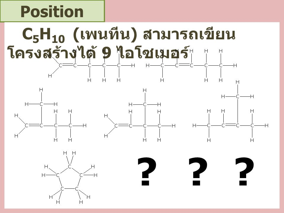 Position Isomerism ไดคลอโรเบนซีน (C 6 H 10 Cl 2 ) สามารถเขียนโครงสร้างได้ 3 ไอโซเมอร์ คือ ClCl ClCl ClCl ClCl ClCl ClCl 1 1 1 2 22 33 4 1,2- dichlorobenze ne (o- dichlorobenze ne) 1,3- dichlorobenze ne (m- dichlorobenze ne) 1,4- dichlorobenze ne (p- dichlorobenze ne) 1,2 หรือ ortho 1,3 หรือ meta 1,4 หรือ para