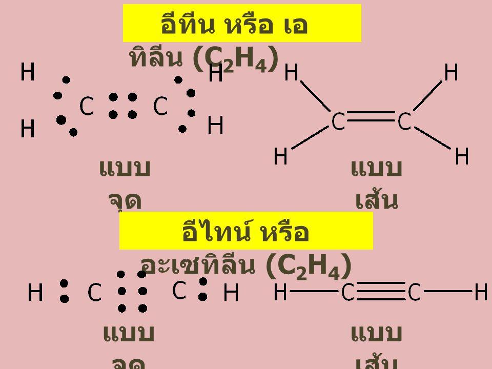 อีทีน หรือ เอ ทิลีน (C 2 H 4 ) แบบ จุด แบบ เส้น อีไทน์ หรือ อะเซทิลีน (C 2 H 4 ) แบบ จุด แบบ เส้น