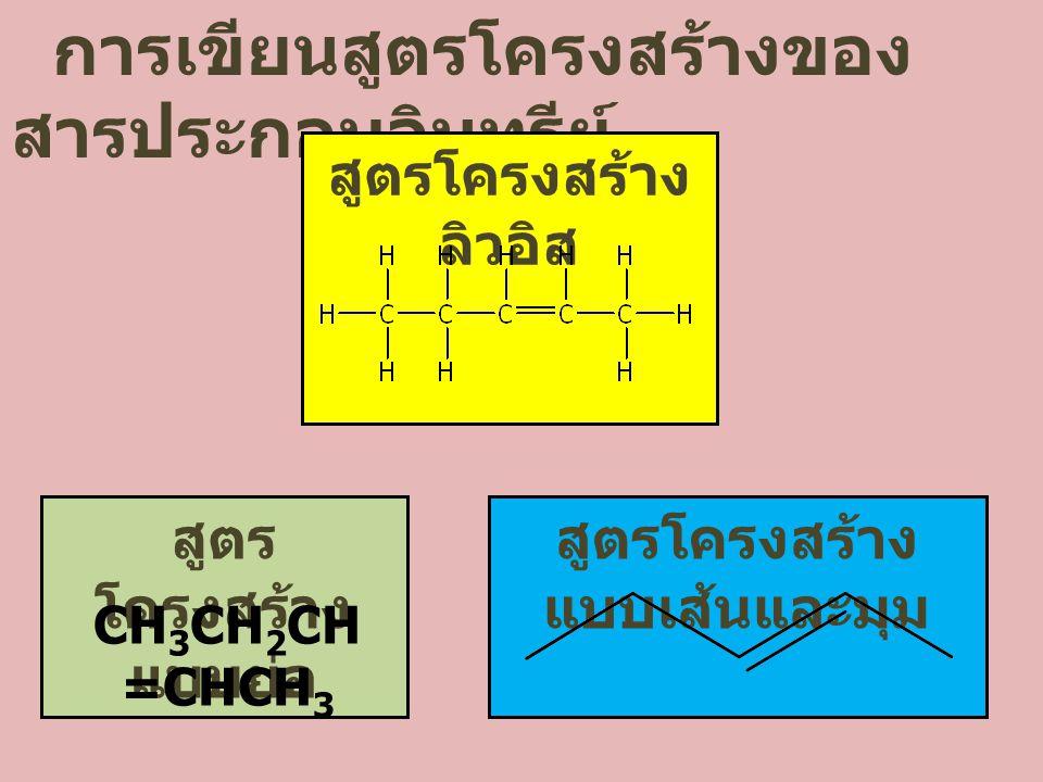 การเขียนสูตรโครงสร้างของ สารประกอบอินทรีย์ สูตรโครงสร้าง ลิวอิส สูตร โครงสร้าง แบบย่อ สูตรโครงสร้าง แบบเส้นและมุม CH 3 CH 2 CH =CHCH 3