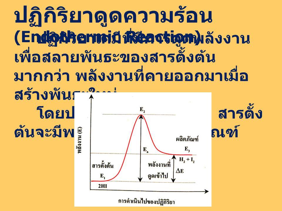 ปฏิกิริยาดูดความร้อน (Endothermic Reaction) ปฏิกิริยาเคมีที่มีการดูดพลังงาน เพื่อสลายพันธะของสารตั้งต้น มากกว่า พลังงานที่คายออกมาเมื่อ สร้างพันธะใหม่ โดยปฏิกิริยาดูดความร้อน สารตั้ง ต้นจะมีพลังงานต่ำกว่าผลิตภัณฑ์
