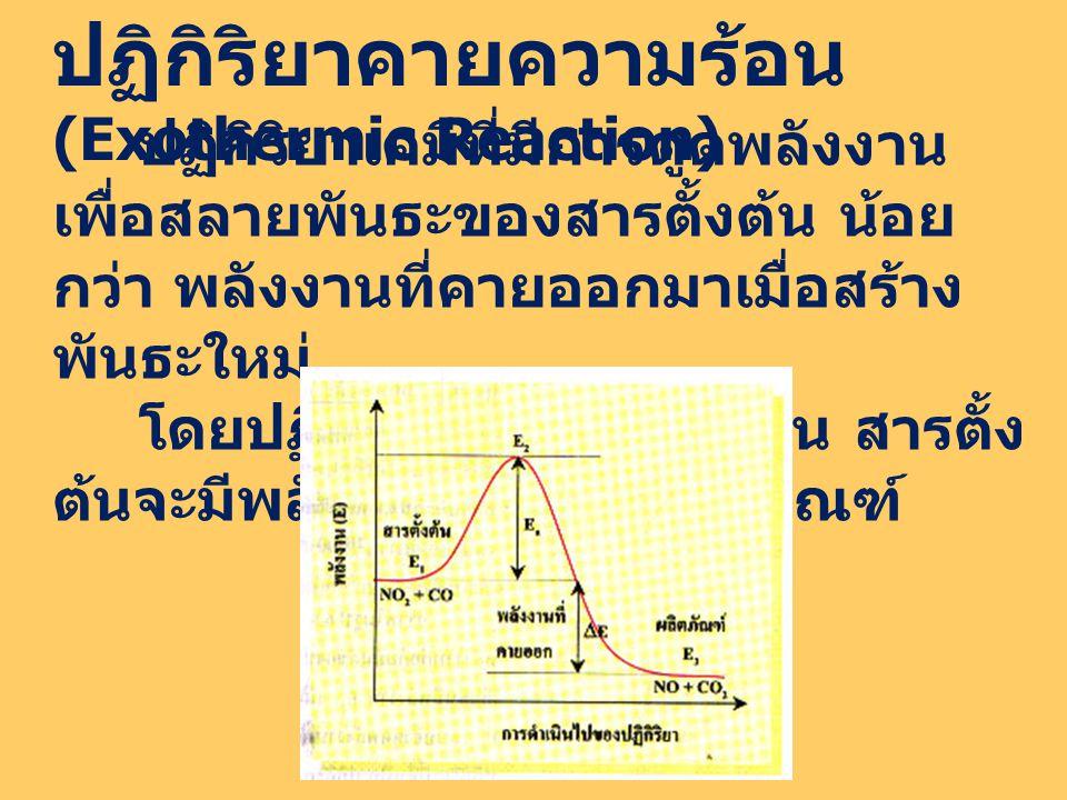 ปฏิกิริยาคายความร้อน (Exothermic Reaction) ปฏิกิริยาเคมีที่มีการดูดพลังงาน เพื่อสลายพันธะของสารตั้งต้น น้อย กว่า พลังงานที่คายออกมาเมื่อสร้าง พันธะใหม่ โดยปฏิกิริยาคายความร้อน สารตั้ง ต้นจะมีพลังงานสูงกว่าผลิตภัณฑ์