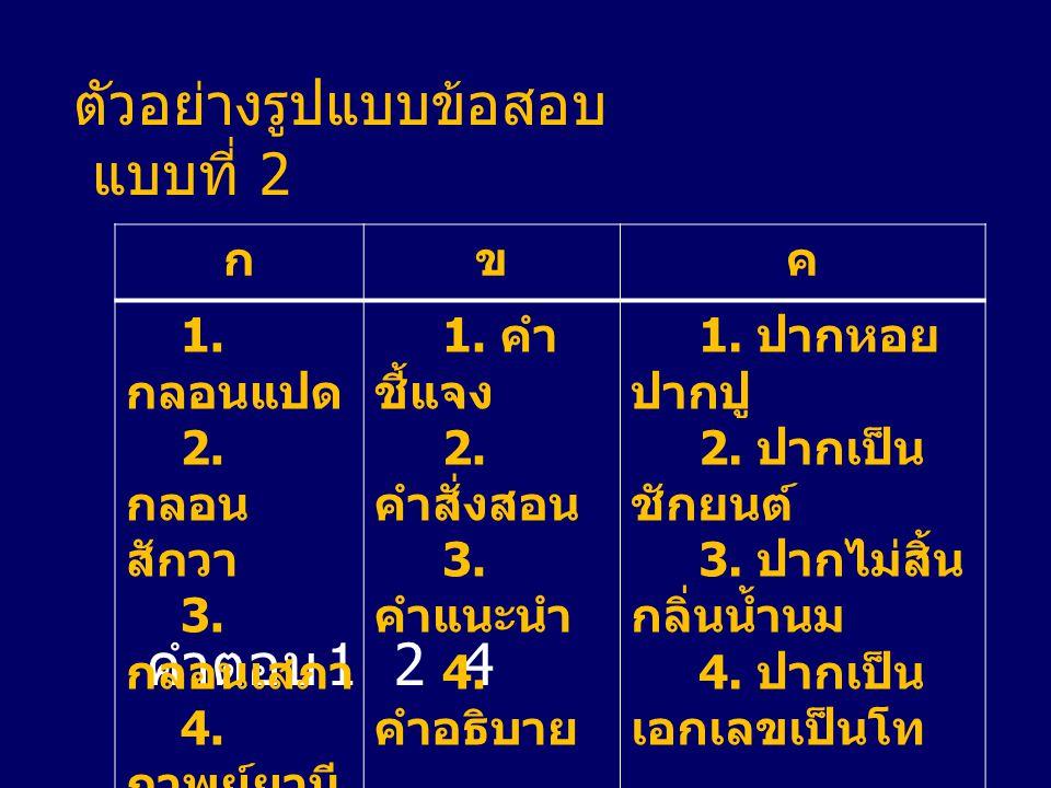 ตัวอย่างรูปแบบข้อสอบ แบบที่ 2 คำตอบ 1 2 4 กขค 1. กลอนแปด 2. กลอน สักวา 3. กลอนเสภา 4. กาพย์ยานี 11 1. คำ ชี้แจง 2. คำสั่งสอน 3. คำแนะนำ 4. คำอธิบาย 1.