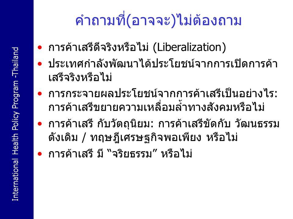 International Health Policy Program -Thailand คำถามที่ต้องถาม หากหลักการของการค้าเสรีเป็นไปเพื่อ ความมั่งคั่ง ของสังคม หลักการการค้าเสรี ควร apply กับ สินค้า ทุก ประเภทหรือไม่