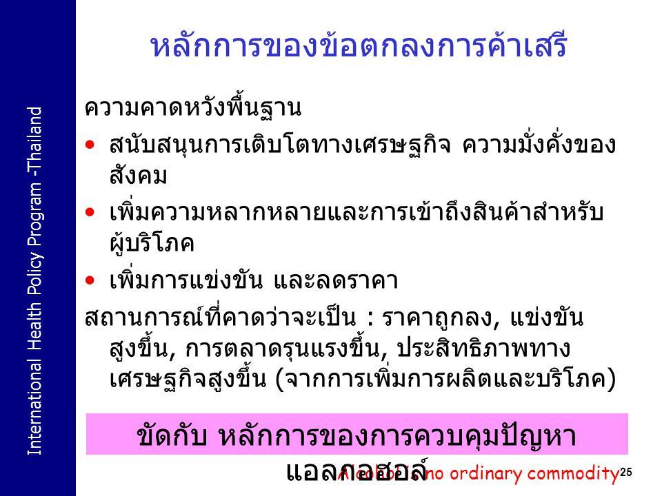 International Health Policy Program -Thailand 25 หลักการของข้อตกลงการค้าเสรี ความคาดหวังพื้นฐาน สนับสนุนการเติบโตทางเศรษฐกิจ ความมั่งคั่งของ สังคม เพิ
