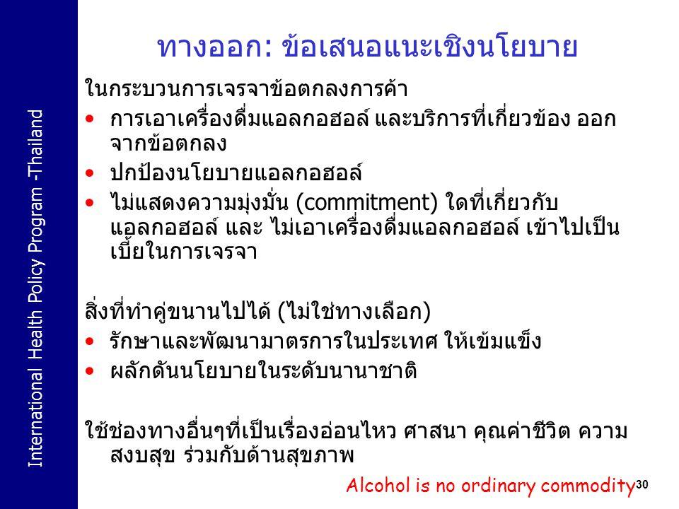 International Health Policy Program -Thailand 30 ทางออก: ข้อเสนอแนะเชิงนโยบาย ในกระบวนการเจรจาข้อตกลงการค้า การเอาเครื่องดื่มแอลกอฮอล์ และบริการที่เกี