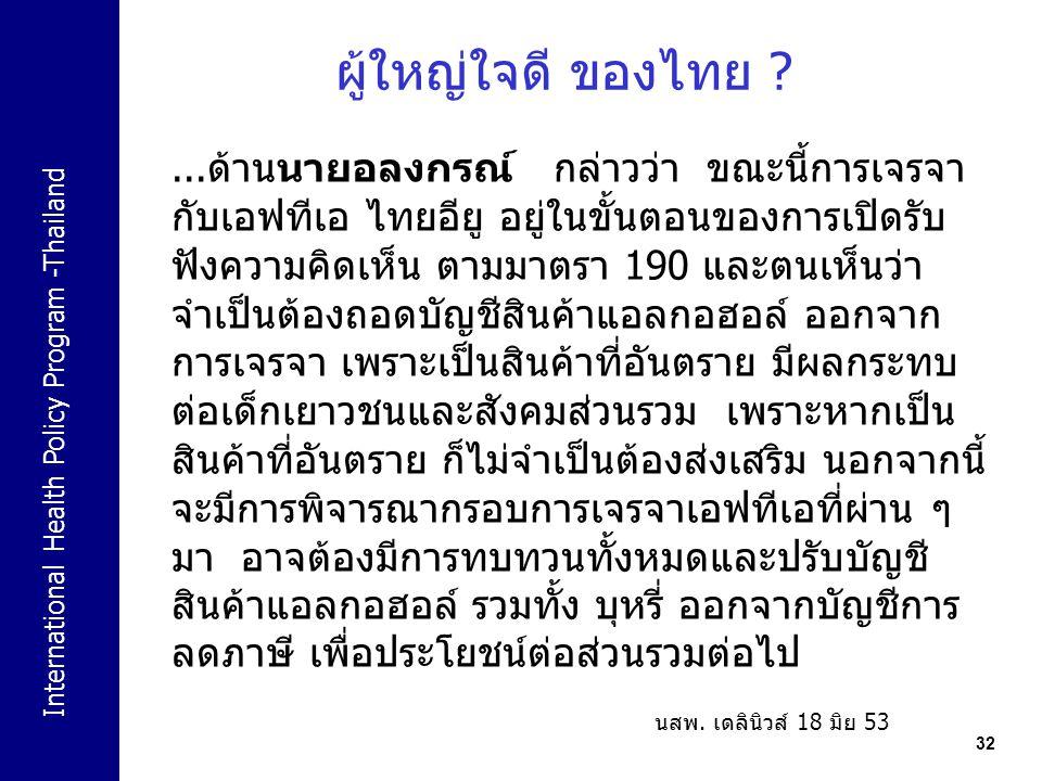 International Health Policy Program -Thailand 32 ผู้ใหญ่ใจดี ของไทย ?...ด้านนายอลงกรณ์ กล่าวว่า ขณะนี้การเจรจา กับเอฟทีเอ ไทยอียู อยู่ในขั้นตอนของการเ