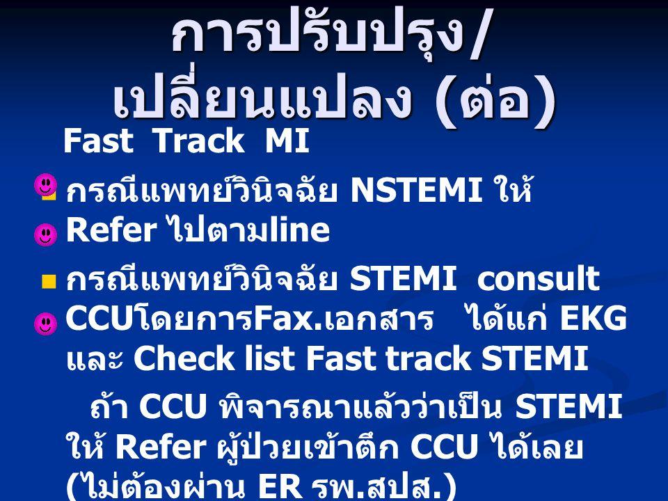 การปรับปรุง / เปลี่ยนแปลง ( ต่อ ) Fast Track MI กรณีแพทย์วินิจฉัย NSTEMI ให้ Refer ไปตาม line กรณีแพทย์วินิจฉัย STEMI consult CCU โดยการ Fax. เอกสาร ไ