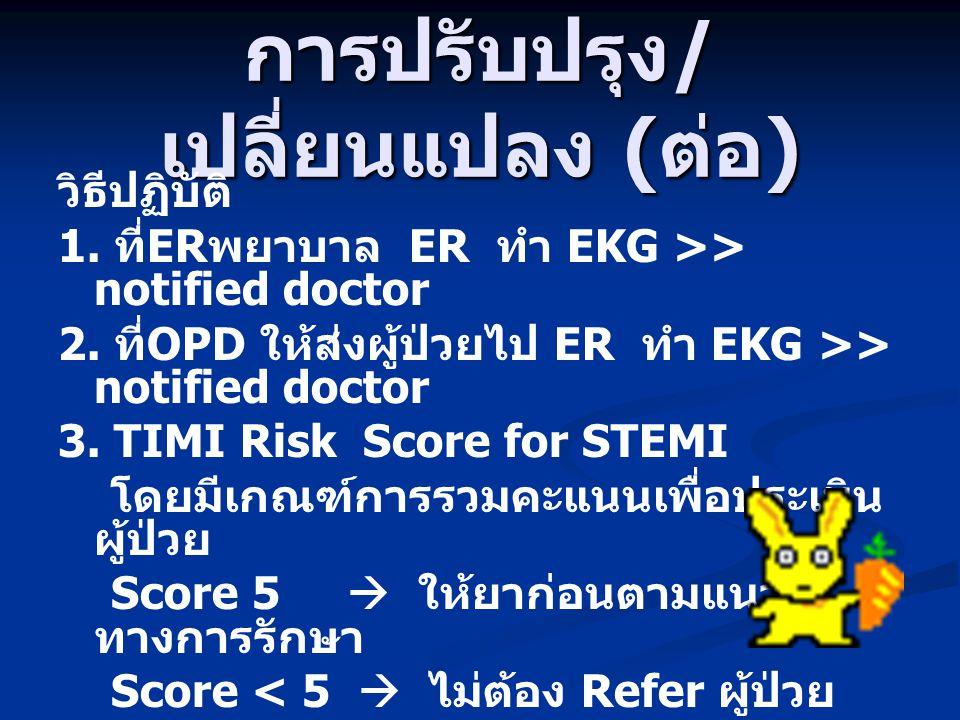 การปรับปรุง / เปลี่ยนแปลง ( ต่อ ) วิธีปฏิบัติ 1. ที่ ER พยาบาล ER ทำ EKG >> notified doctor 2. ที่ OPD ให้ส่งผู้ป่วยไป ER ทำ EKG >> notified doctor 3.