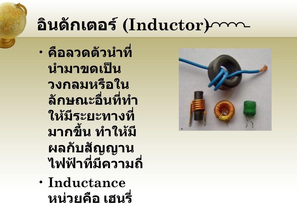 อินดักเตอร์ (Inductor) คือลวดตัวนำที่ นำมาขดเป็น วงกลมหรือใน ลักษณะอื่นที่ทำ ให้มีระยะทางที่ มากขึ้น ทำให้มี ผลกับสัญญาน ไฟฟ้าที่มีความถี่ Inductance