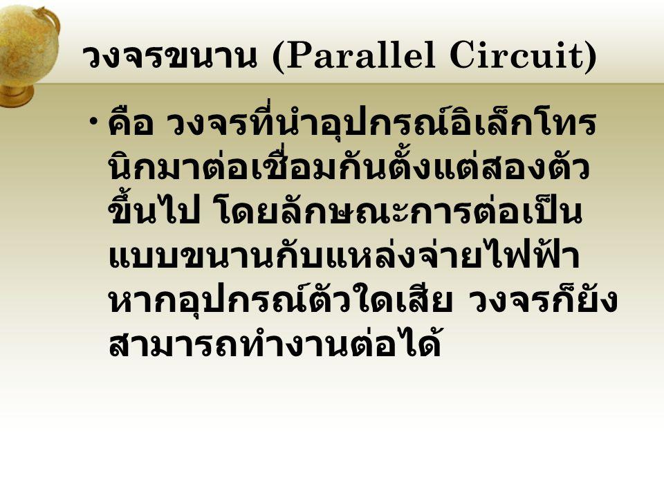 วงจรขนาน (Parallel Circuit) คือ วงจรที่นำอุปกรณ์อิเล็กโทร นิกมาต่อเชื่อมกันตั้งแต่สองตัว ขึ้นไป โดยลักษณะการต่อเป็น แบบขนานกับแหล่งจ่ายไฟฟ้า หากอุปกรณ