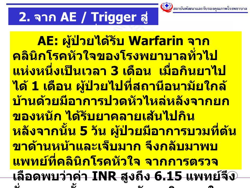 8 2. จาก AE / Trigger สู่ ระบบที่ดี AE: ผู้ป่วยได้รับ Warfarin จาก คลินิกโรคหัวใจของโรงพยาบาลทั่วไป แห่งหนึ่งเป็นเวลา 3 เดือน เมื่อกินยาไป ได้ 1 เดือน