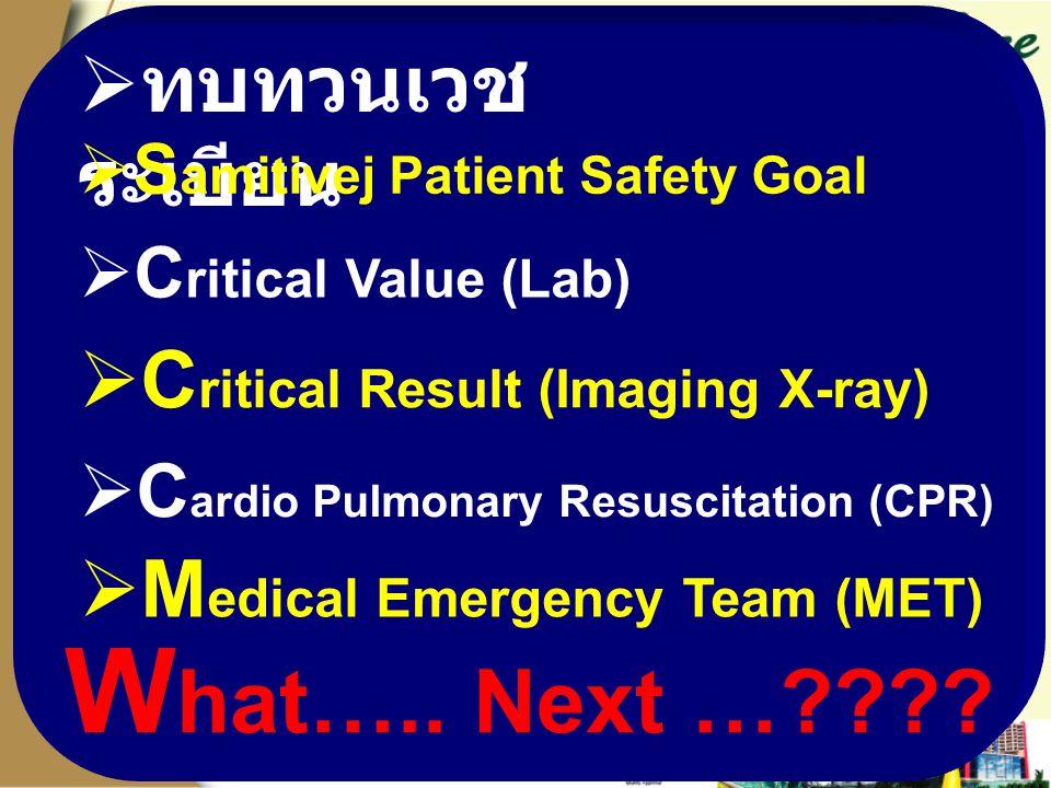 W hat….. Next …????  M edical Emergency Team (MET)  C ardio Pulmonary Resuscitation (CPR)  C ritical Result (Imaging X-ray)  C ritical Value (Lab)