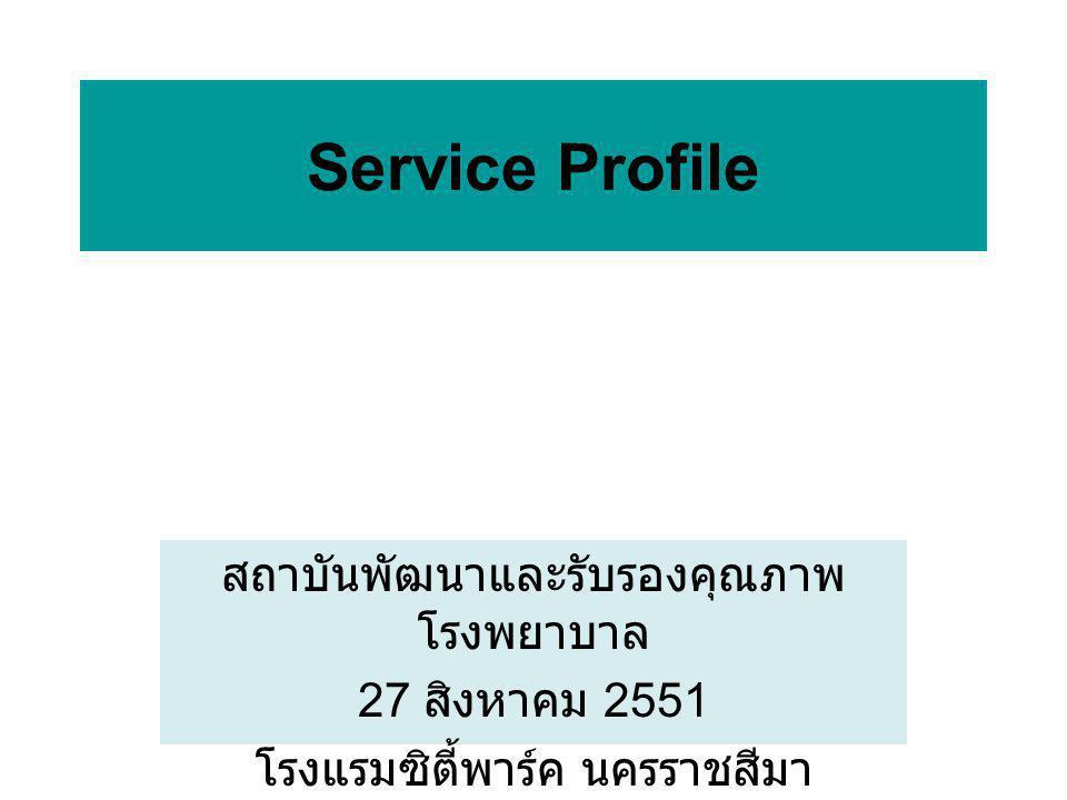 สถาบันพัฒนาและรับรองคุณภาพ โรงพยาบาล 27 สิงหาคม 2551 โรงแรมซิตี้พาร์ค นครราชสีมา Service Profile