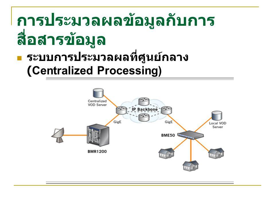 การประมวลผลข้อมูลกับการ สื่อสารข้อมูล ระบบการประมวลผลที่ศูนย์กลาง (Centralized Processing)
