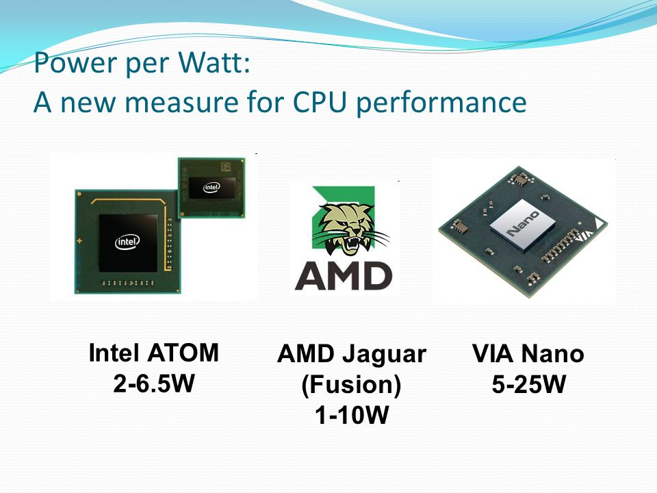Power per Watt: A new measure for CPU performance Intel ATOM 2-6.5W AMD Jaguar (Fusion) 1-10W VIA Nano 5-25W