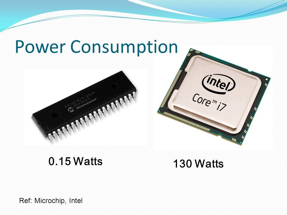 Power Consumption Ref: Microchip, Intel 130 Watts 0.15 Watts