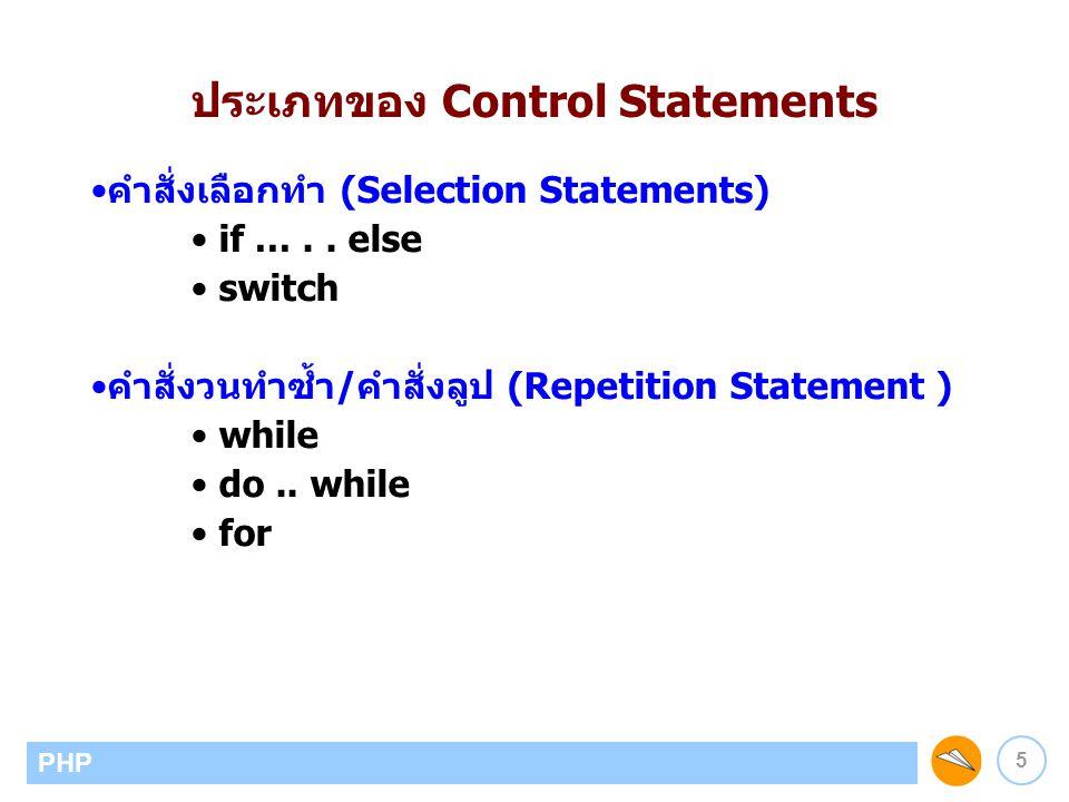 6 PHP ภาควิชาวิทยาการคอมพิวเตอร์ คณะวิทยาศาสตร์ มหาวิทยาลัยเชียงใหม่ คำสั่ง if - if statement รูปแบบ if (condition) { statement; …… } ตัวอย่าง if ($height > 0 && $width > 0) { $area = $height*$width; echo Area of square = .$area; } if เป็นคำสั่งที่ใช้สำหรับการทดสอบเงื่อนไข และเลือกปฏิบัติตามเงื่อนไข เงื่อนไข คำสั่งต่าง ๆ เมื่อ เงื่อนไขเป็นจริง คำสั่งถัดไป จริง เท็จ