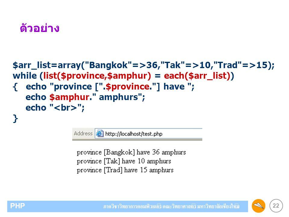 22 PHP ภาควิชาวิทยาการคอมพิวเตอร์ คณะวิทยาศาสตร์ มหาวิทยาลัยเชียงใหม่ ตัวอย่าง $arr_list=array(