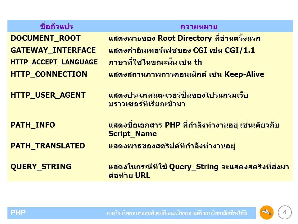 4 PHP ภาควิชาวิทยาการคอมพิวเตอร์ คณะวิทยาศาสตร์ มหาวิทยาลัยเชียงใหม่ ชื่อตัวแปรความหมาย DOCUMENT_ROOTแสดงพาธของ Root Directory ที่อ่านครั้งแรก GATEWAY