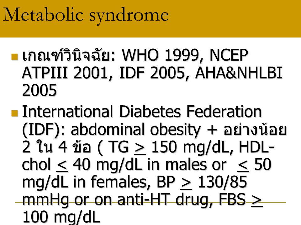 Metabolic syndrome เกณฑ์วินิจฉัย : WHO 1999, NCEP ATPIII 2001, IDF 2005, AHA&NHLBI 2005 เกณฑ์วินิจฉัย : WHO 1999, NCEP ATPIII 2001, IDF 2005, AHA&NHLB