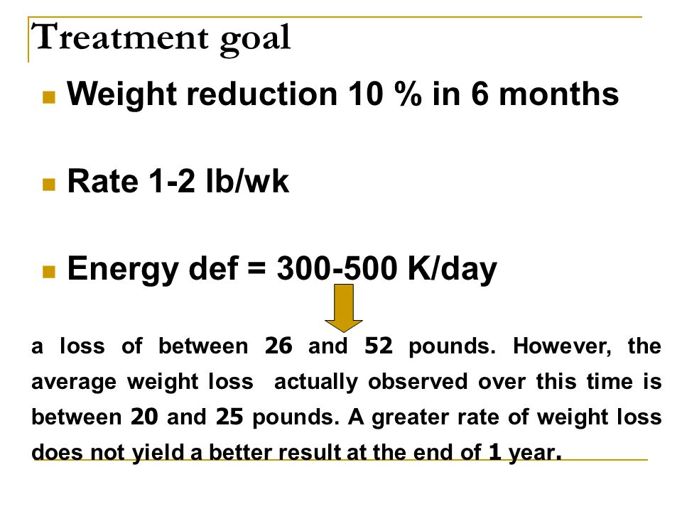 Treatment goal Weight reduction 10 % in 6 months Rate 1-2 lb/wk Energy def = 300-500 K/day a loss of between 26 and 52 pounds.