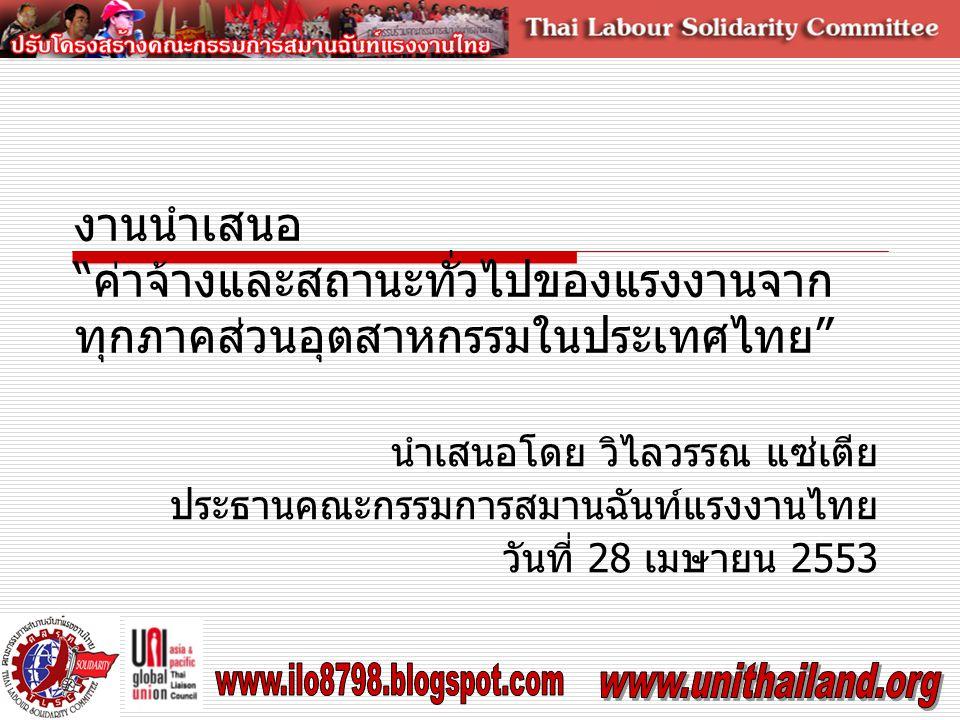 งานนำเสนอ ค่าจ้างและสถานะทั่วไปของแรงงานจาก ทุกภาคส่วนอุตสาหกรรมในประเทศไทย นำเสนอโดย วิไลวรรณ แซ่เตีย ประธานคณะกรรมการสมานฉันท์แรงงานไทย วันที่ 28 เมษายน 2553