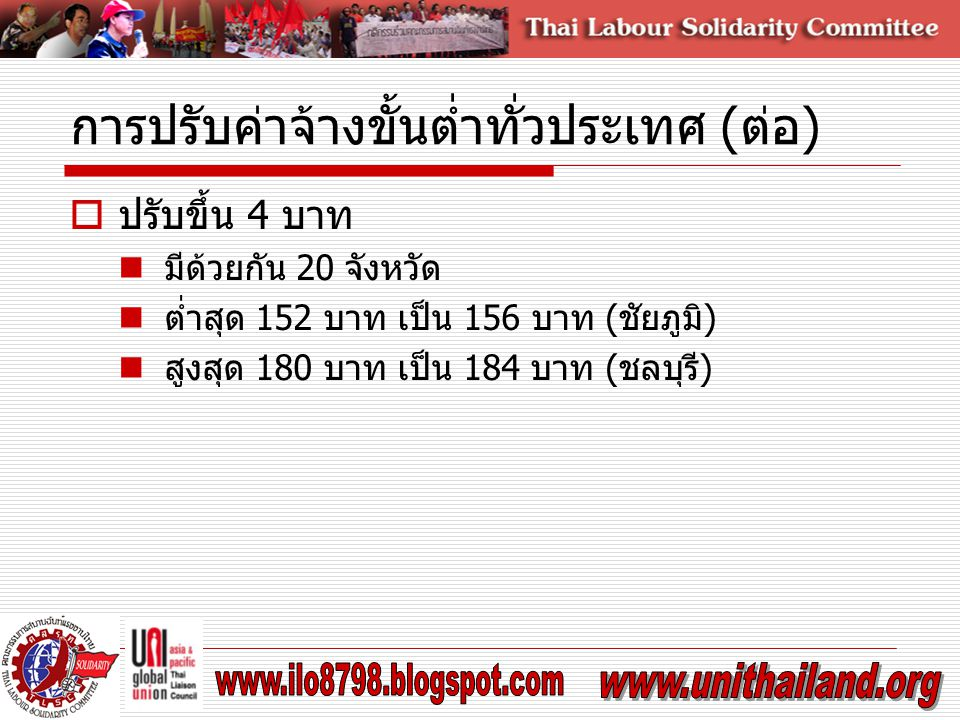 การปรับค่าจ้างขั้นต่ำทั่วประเทศ (ต่อ)  ปรับขึ้น 4 บาท มีด้วยกัน 20 จังหวัด ต่ำสุด 152 บาท เป็น 156 บาท (ชัยภูมิ) สูงสุด 180 บาท เป็น 184 บาท (ชลบุรี)