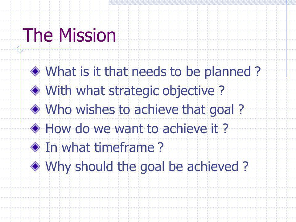 Situational Appraisal and Evaluation How do we assess the situation in which the mission is to be completed ?
