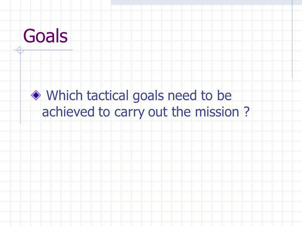 Goals Which tactical goals need to be achieved to carry out the mission ?