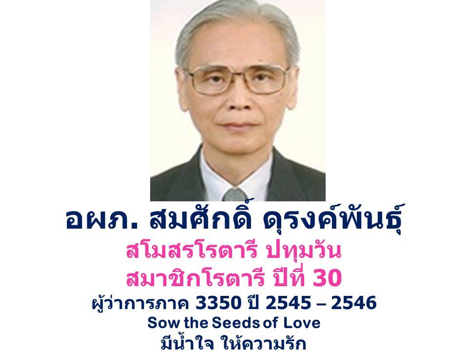 อผภ. สมศักดิ์ ดุรงค์พันธุ์ สโมสรโรตารี ปทุมวัน สมาชิกโรตารี ปีที่ 30 ผู้ว่าการภาค 3350 ปี 2545 – 2546 Sow the Seeds of Love มีน้ำใจ ให้ความรัก