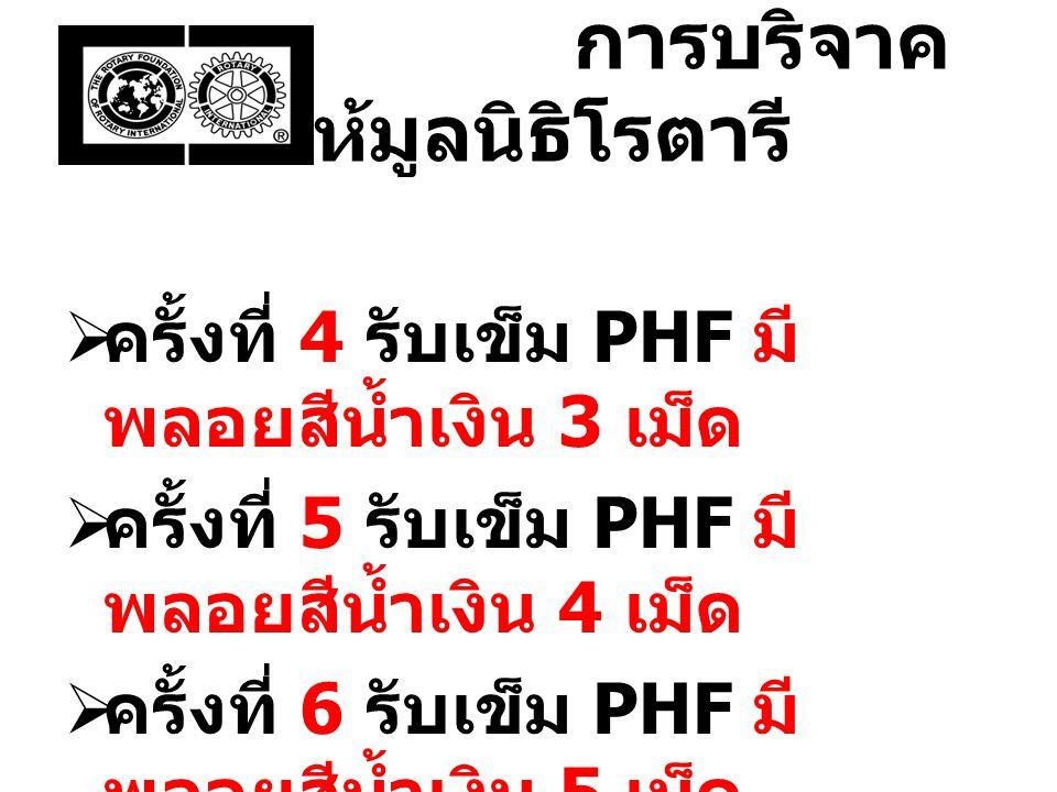 การบริจาค ให้มูลนิธิโรตารี  ครั้งที่ 4 รับเข็ม PHF มี พลอยสีน้ำเงิน 3 เม็ด  ครั้งที่ 5 รับเข็ม PHF มี พลอยสีน้ำเงิน 4 เม็ด  ครั้งที่ 6 รับเข็ม PHF