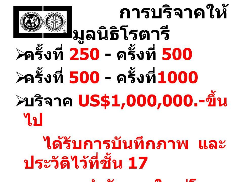 การบริจาคให้ มูลนิธิโรตารี  ครั้งที่ 250 - ครั้งที่ 500  ครั้งที่ 500 - ครั้งที่ 1000  บริจาค US$1,000,000.- ขึ้น ไป ได้รับการบันทึกภาพ และ ประวัติ