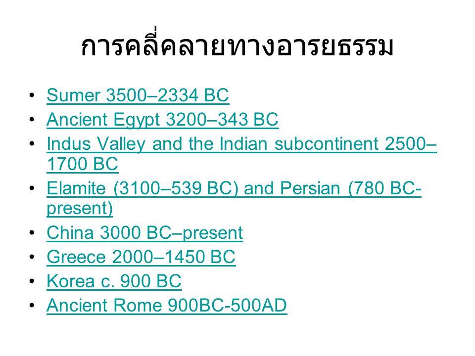 การคลี่คลายทางอารยธรรม Sumer 3500–2334 BC Ancient Egypt 3200–343 BC Indus Valley and the Indian subcontinent 2500– 1700 BCIndus Valley and the Indian subcontinent 2500– 1700 BC Elamite (3100–539 BC) and Persian (780 BC- present)Elamite (3100–539 BC) and Persian (780 BC- present) China 3000 BC–present Greece 2000–1450 BC Korea c.